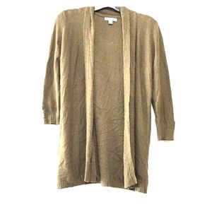 Olive green open cardigan 3/4 sleeve